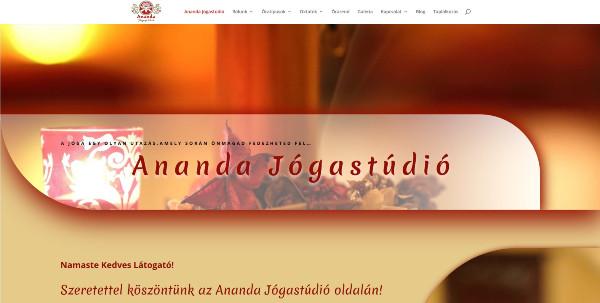 Ananda Jógastúdió weboldala